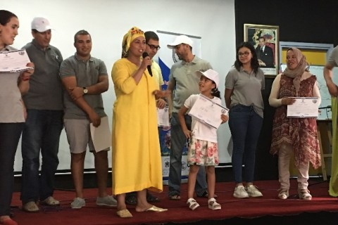 Malak and her mother Naima at the closing ceremony for the Summer Reading Program in Temara
