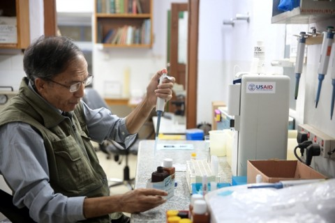 A lab worker in the micro-bacterial research lab at Anandaban Hospital in Nepal.