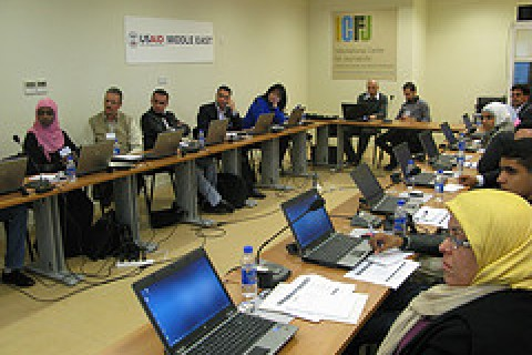 Participants at a USAID-supported program in Amman, Jordan, enhance their multimedia skills.