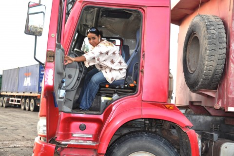 Oumalkaire Omar Djama driving a heavy weight truck at her work place Al Gamil, the largest construction company in Djibouti.