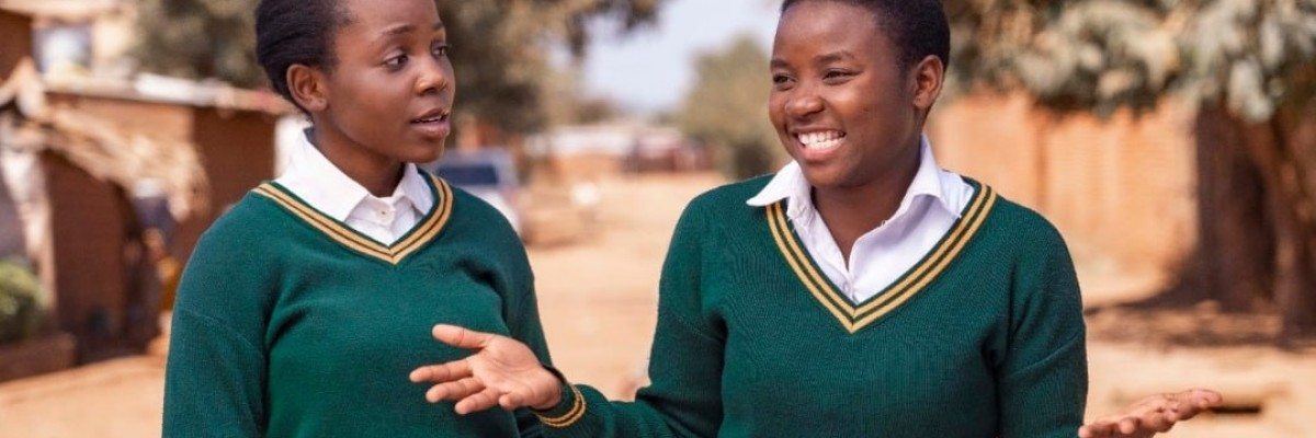 Two Malawian Girls in School Uniform