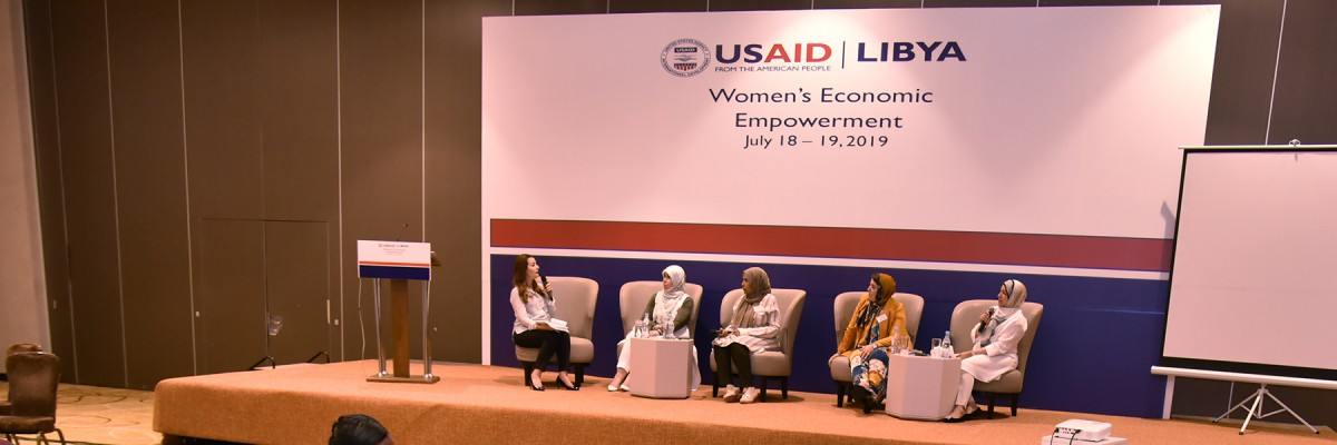 Women entrepreneurs participate in a panel discussion during the Libya Women's Economic Empowerment Conference