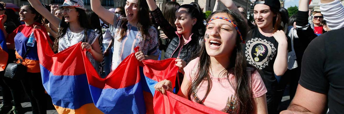 Armenian youth conduct peaceful protests in the April/May 2018 velvet revolution.