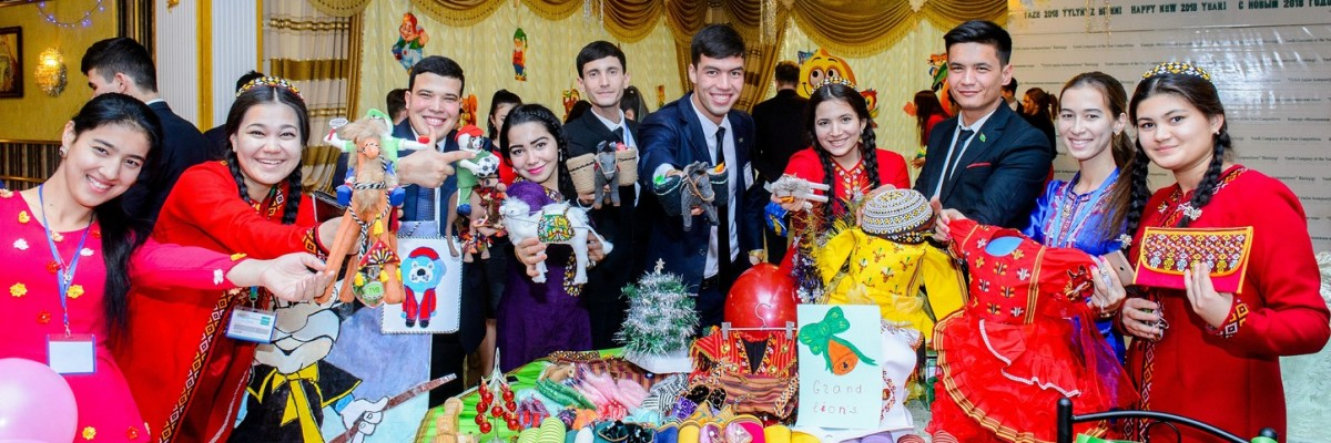 Turkmen youth proudly display their innovative products and entrepreneurial skills as part of USAID's Enriching Youth for Tomorrow program's Company of the Year Competition.