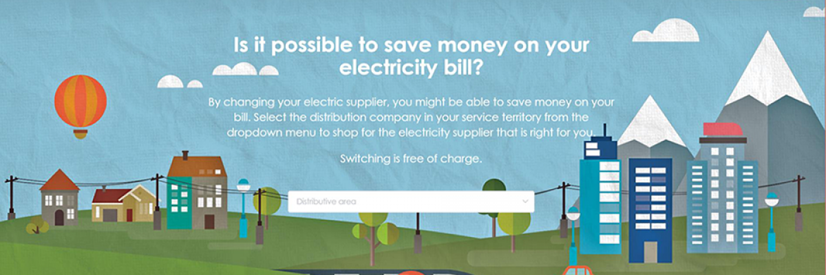 Screenshot of the landing page for uporedistruju.ba, a price comparison tool to help electricity users in Bosnia and Herzegovina choose their supplier and save money.