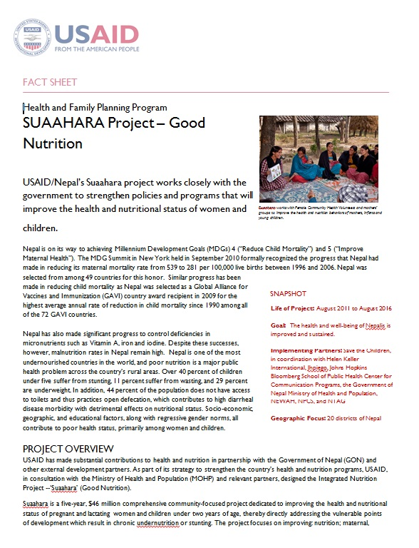 SUAAHARA Project – Good Nutrition