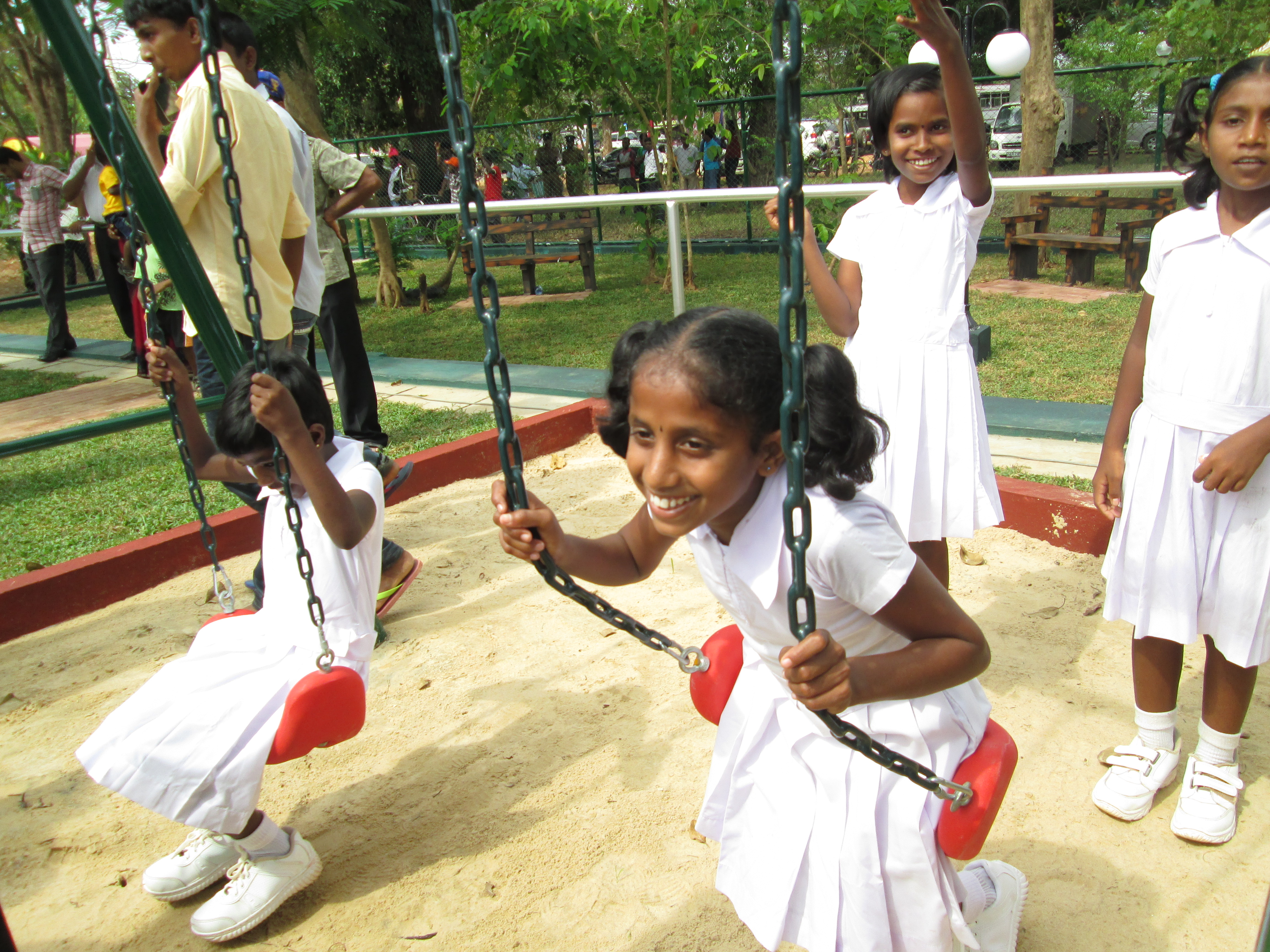 Tamil and Muslim children play at the new Kilinochchi Children's Park.