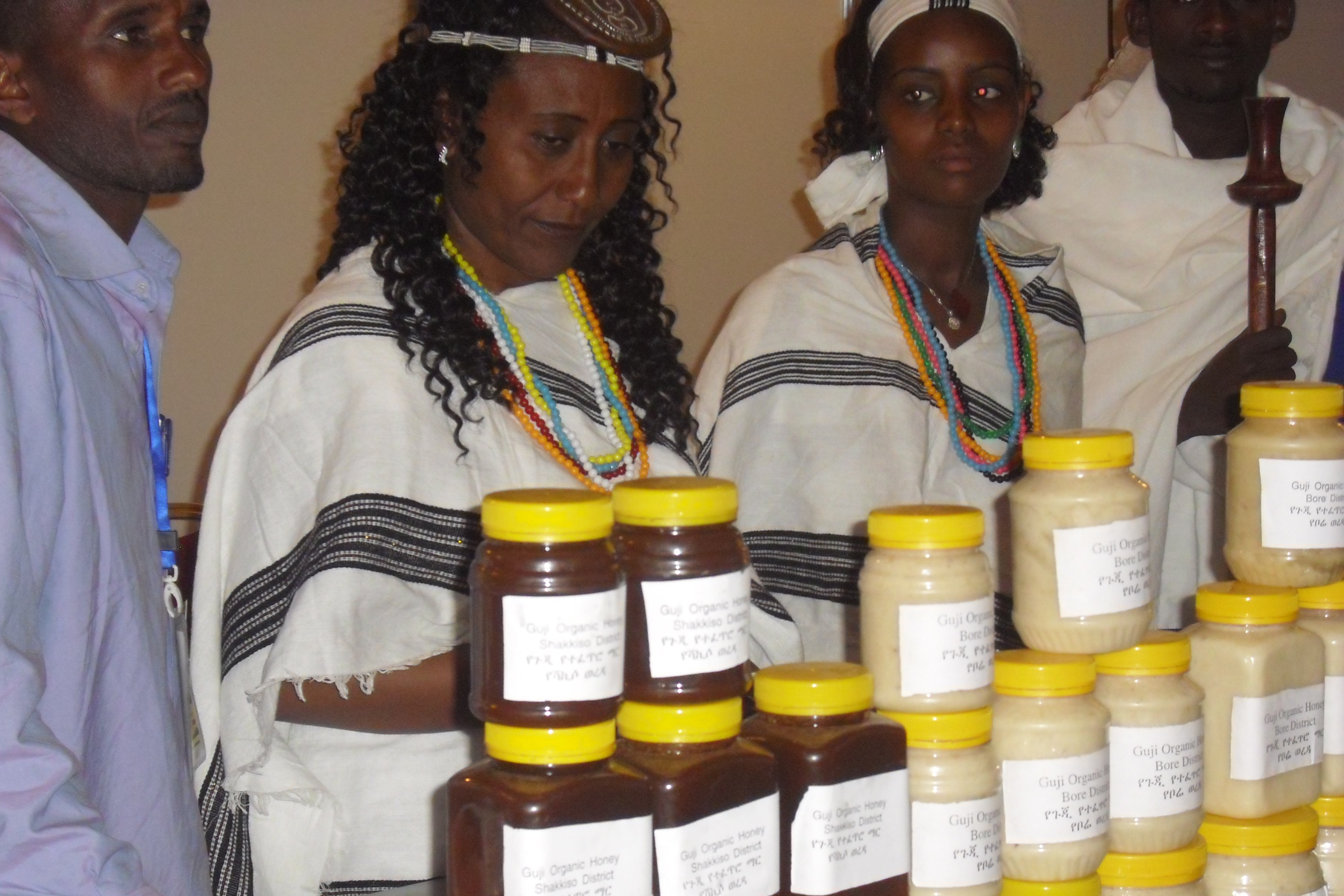 Ethiopian beekeepers exhibiting their honey products at the Api Africa Expo.