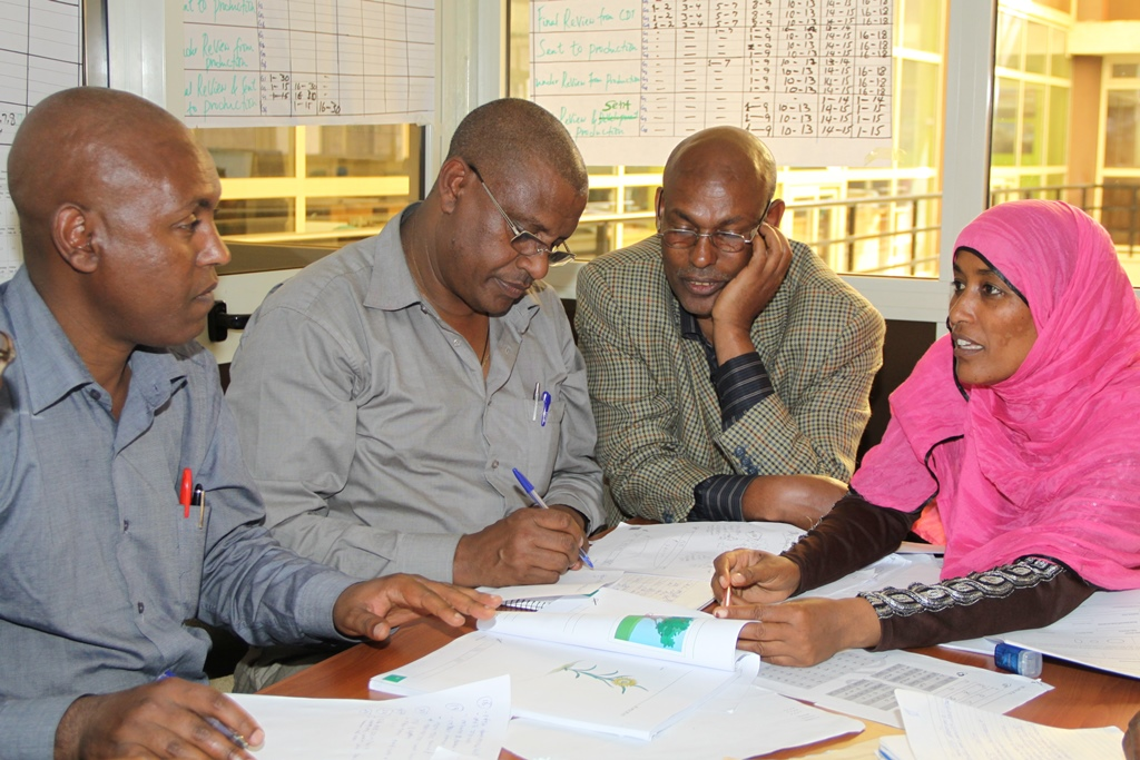 Four members of the Amharic team review lessons that are near completion.