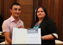 MediaCenter intern Mladen Lukic receives the Srdjan Aleksic award for his reporting on LGBT rights in Bosnia and Herzegovina.