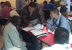 District officials during a micro-planning meeting in Adama, Ethiopia.