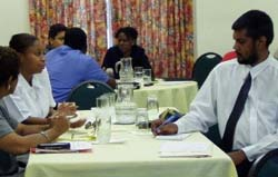 Guyanese lawyers being trained in mediation techniques, prior to the opening of the Mediation Center.