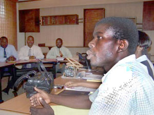 Makendy Pierre, who participated in a USAID-sponsored internship, went on to become the director of a branch of Fonkoze