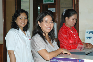 Dr. Ouk Vong Vathiny (left) at a RHAC clinic in Phnom Penh, Cambodia