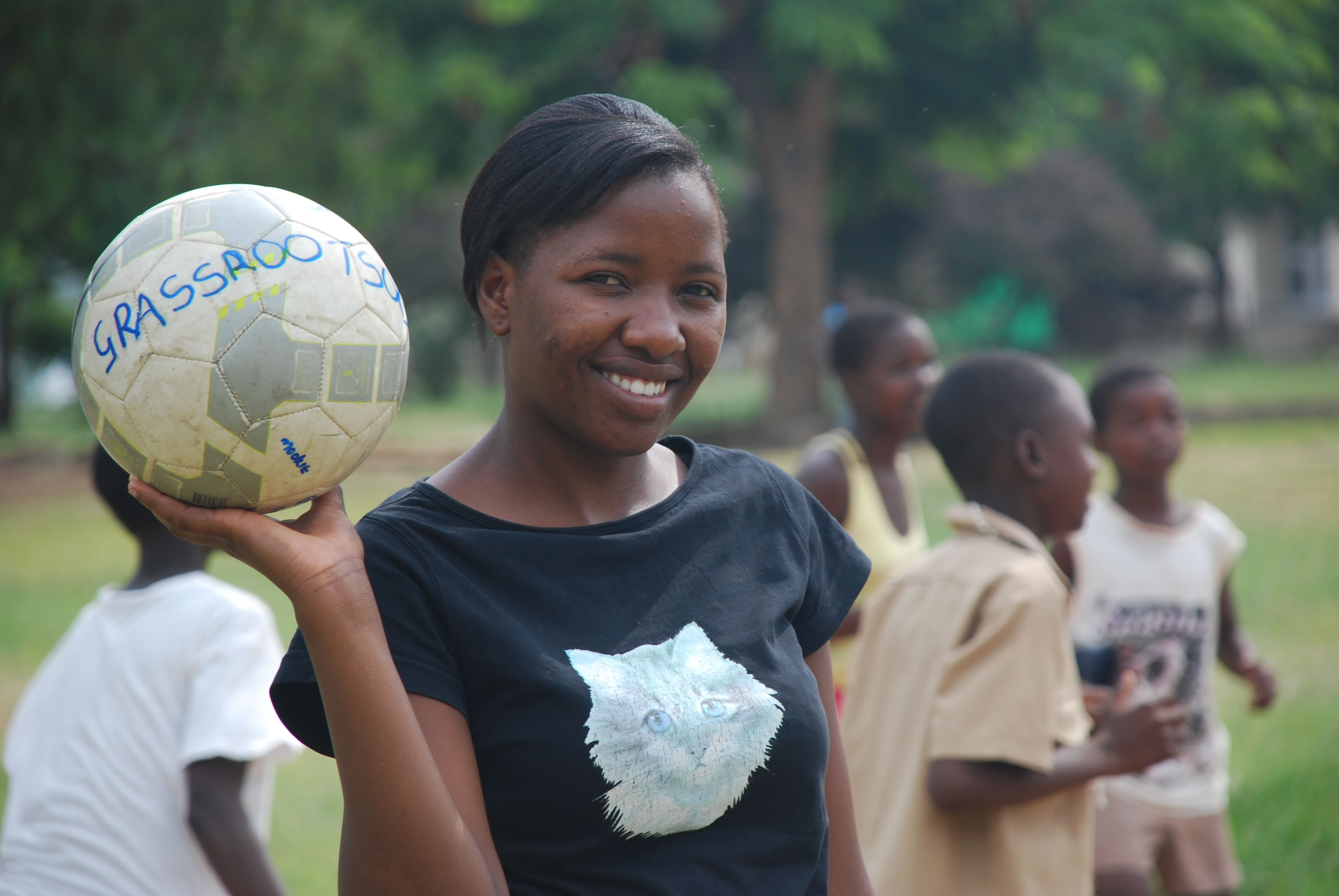 An orphan herself, Fortune helps other children learn about HIV through the Grassroots Soccer program.