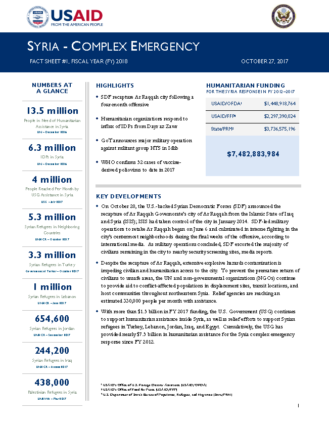 Syria Complex Emergency - Fact Sheet #1 FY18