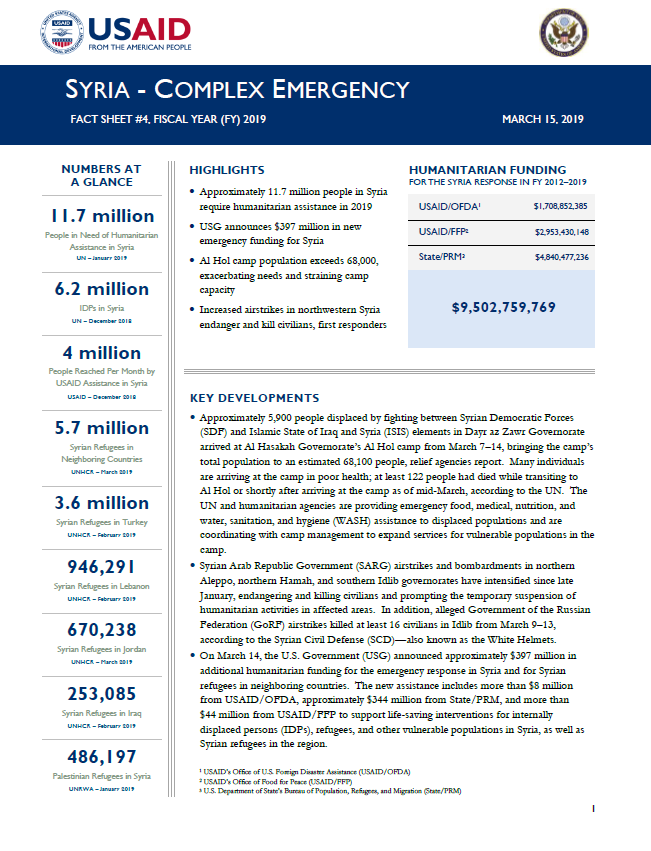 Syria Complex Emergency - Fact Sheet #4 FY19