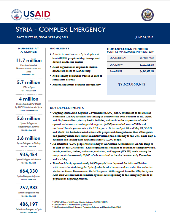 Syria Complex Emergency - Fact Sheet #7 FY19