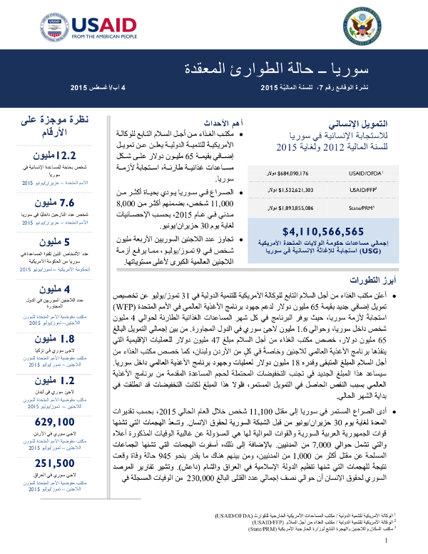 Syria Arabic Fact Sheet #7 - 08-04-2015