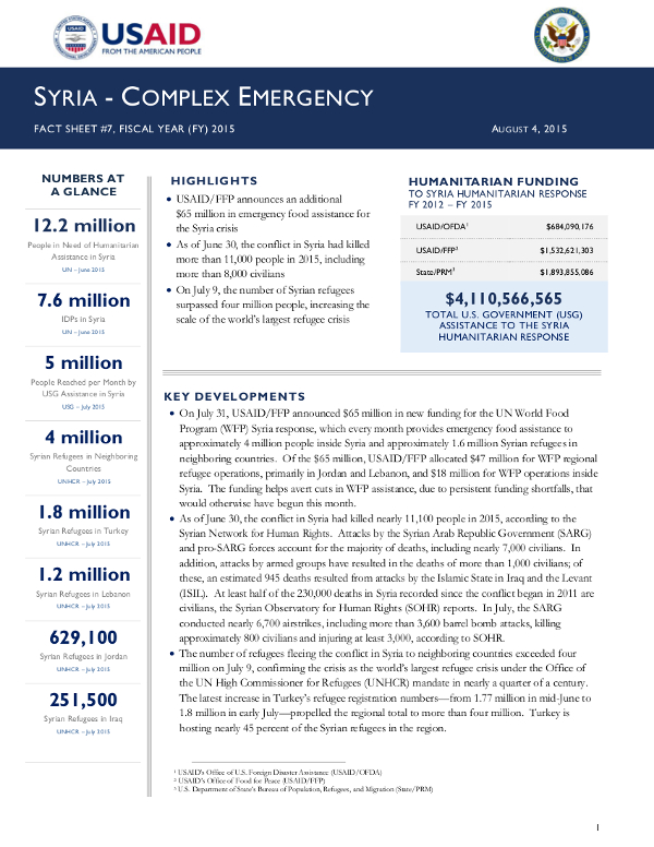 Syria Complex Emergency  Fact Sheet   US Agency For