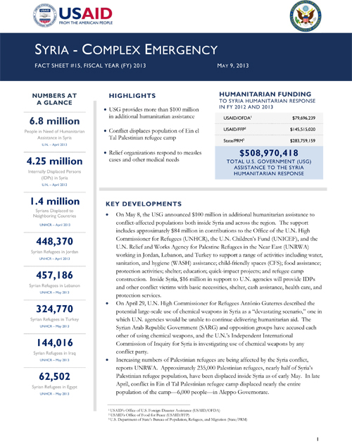 Syria Complex Emergency Fact Sheet #15 - 05-09-2013