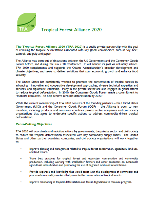 Tropical Forest Alliance 2020 Overview