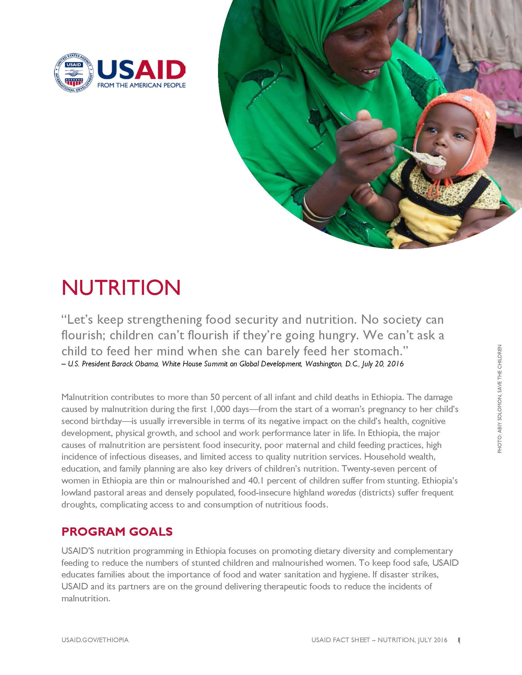 Ethiopia Nutrition Fact Sheet