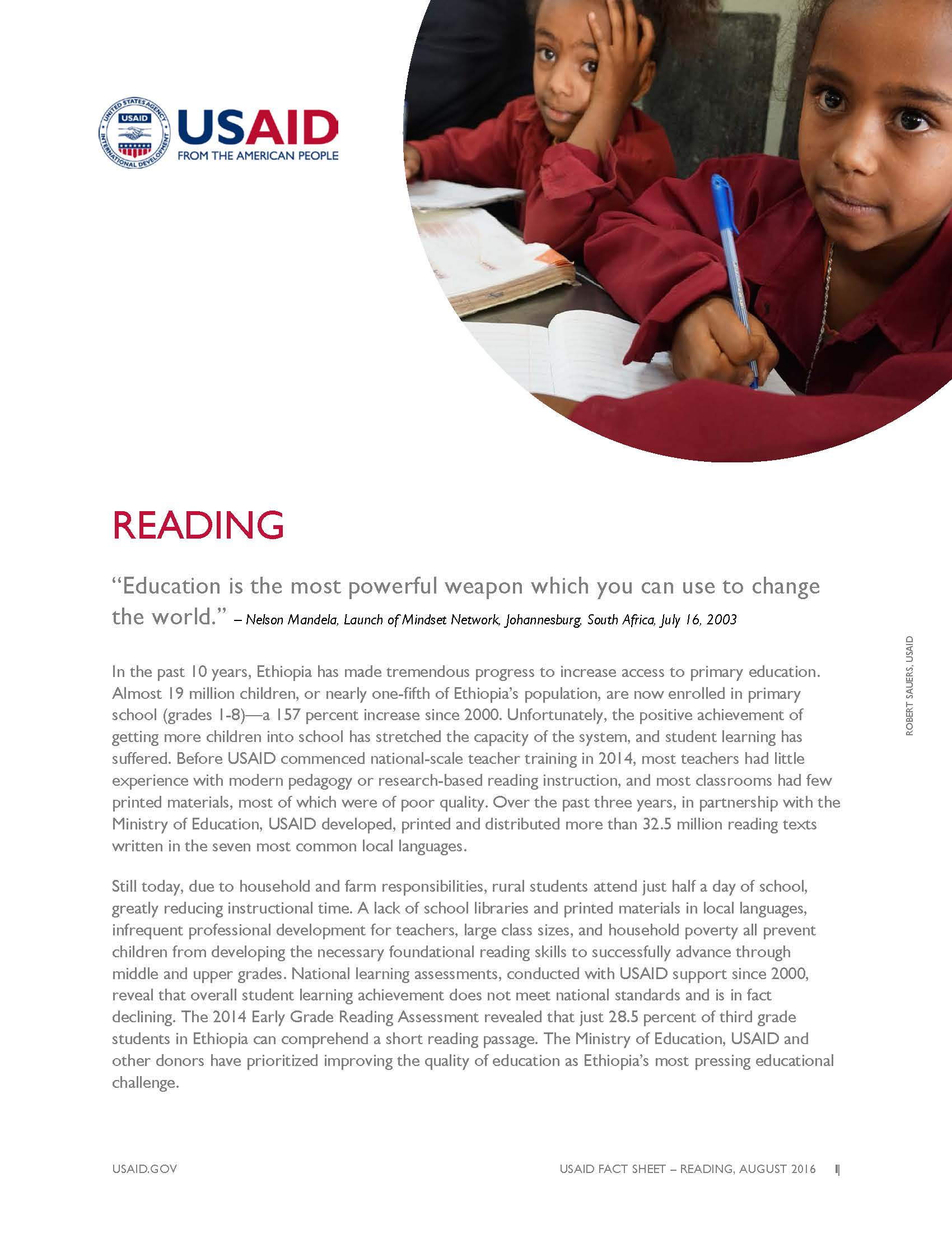 Ethiopia Reading Fact Sheet