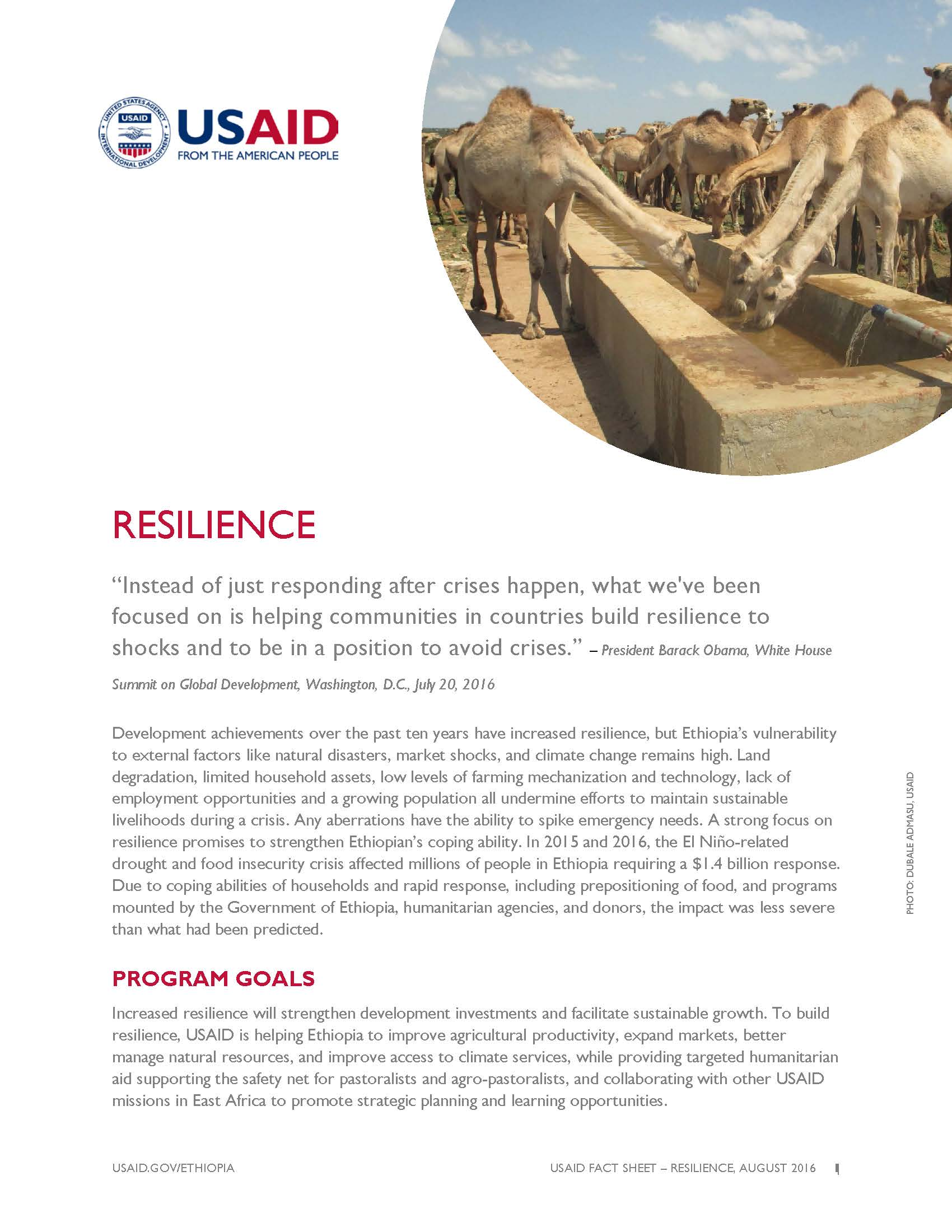 Ethiopia Resilence Fact Sheet