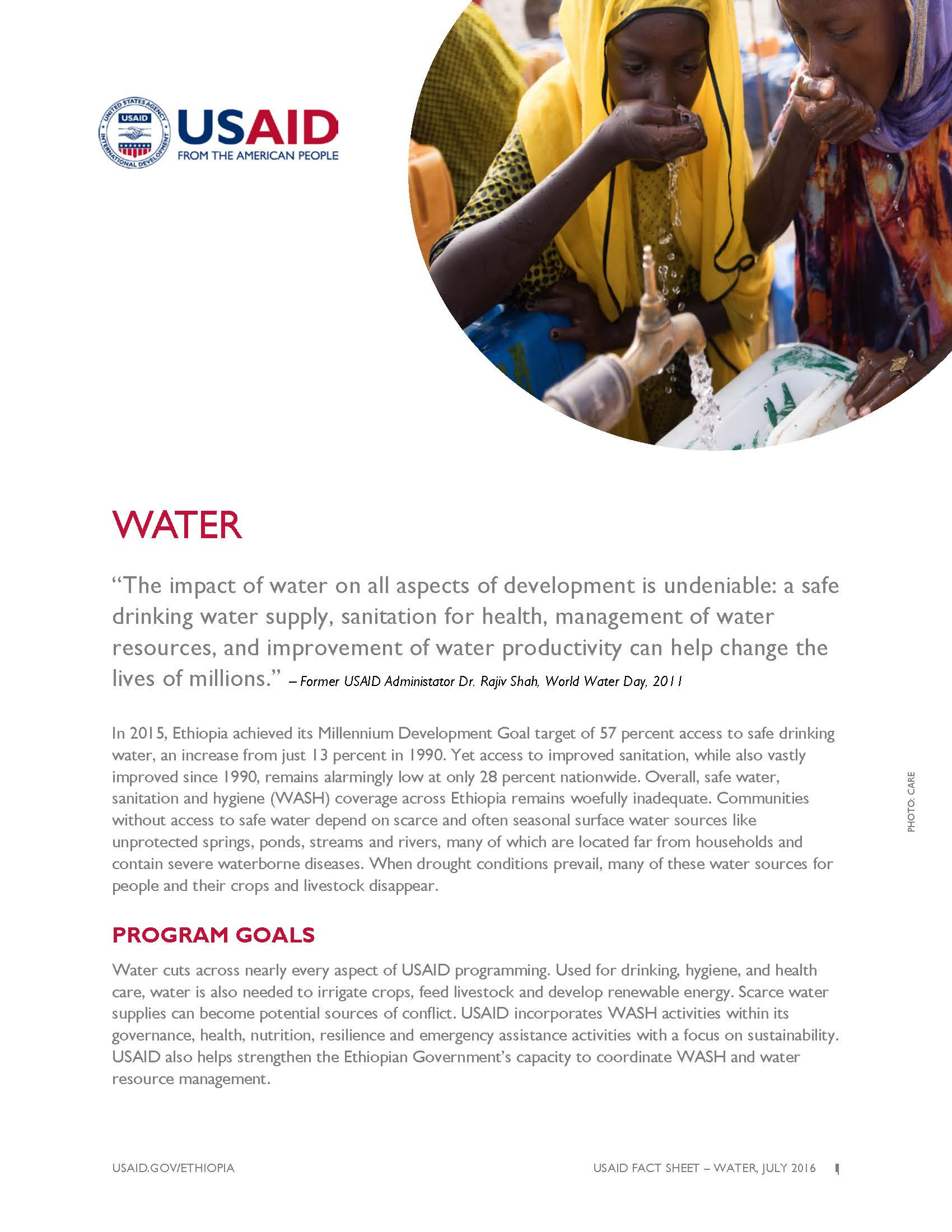 Ethiopia Water Fact Sheet
