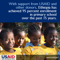 With support from USAID and other donors, Ethiopia has achieved 95 percent enrollment in primary school over the past 15 years