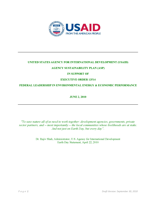 USAID 2010 Agency Sustainability Plan