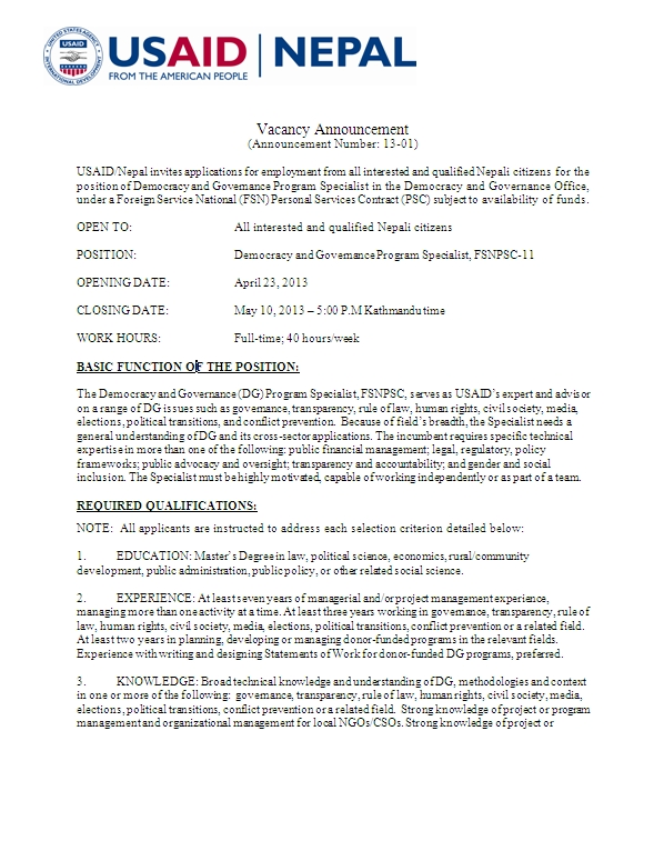 Sample Cover Letter For Social Work Jobs from www.usaid.gov