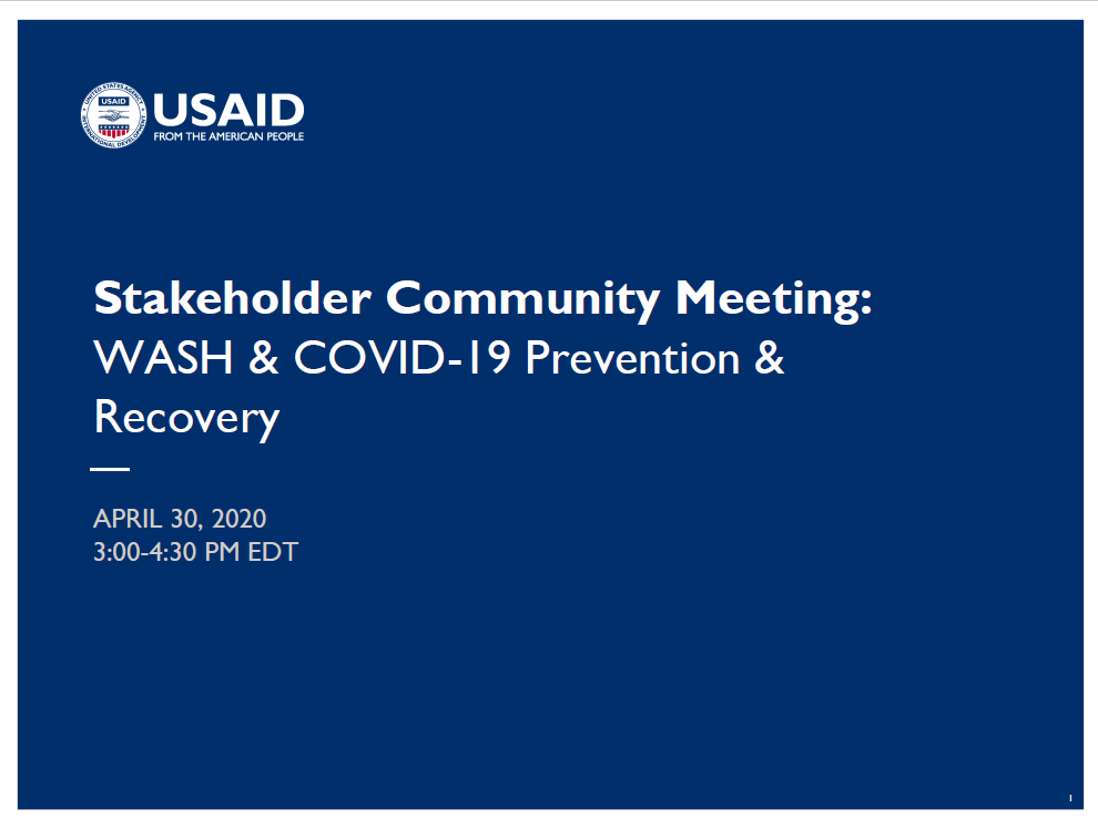Stakeholder Community Meeting: WASH & COVID-19 Prevention & Recovery