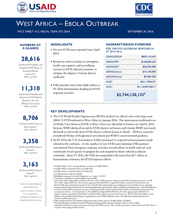 West Africa Ebola Outbreak Fact Sheet #12 - 09-30-2016