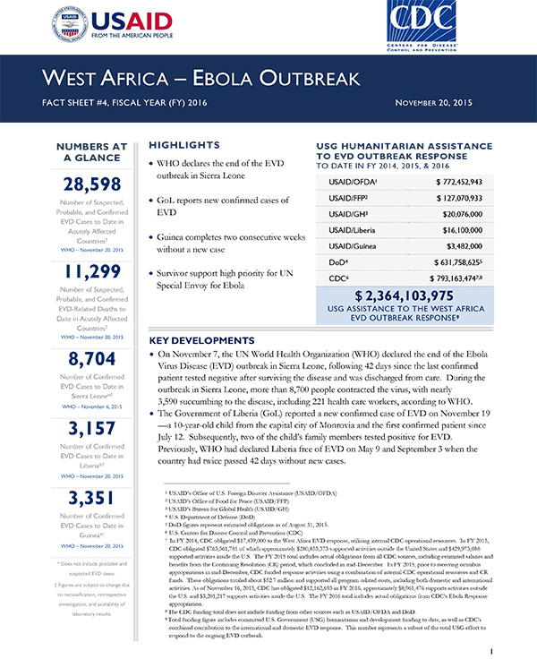 West Africa Ebola Outbreak Fact Sheet #4 - 11-20-2015