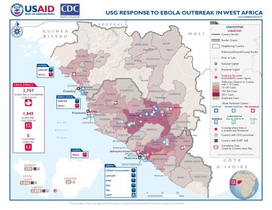 West Africa Ebola Outbreak Map - Sep. 10, 2014