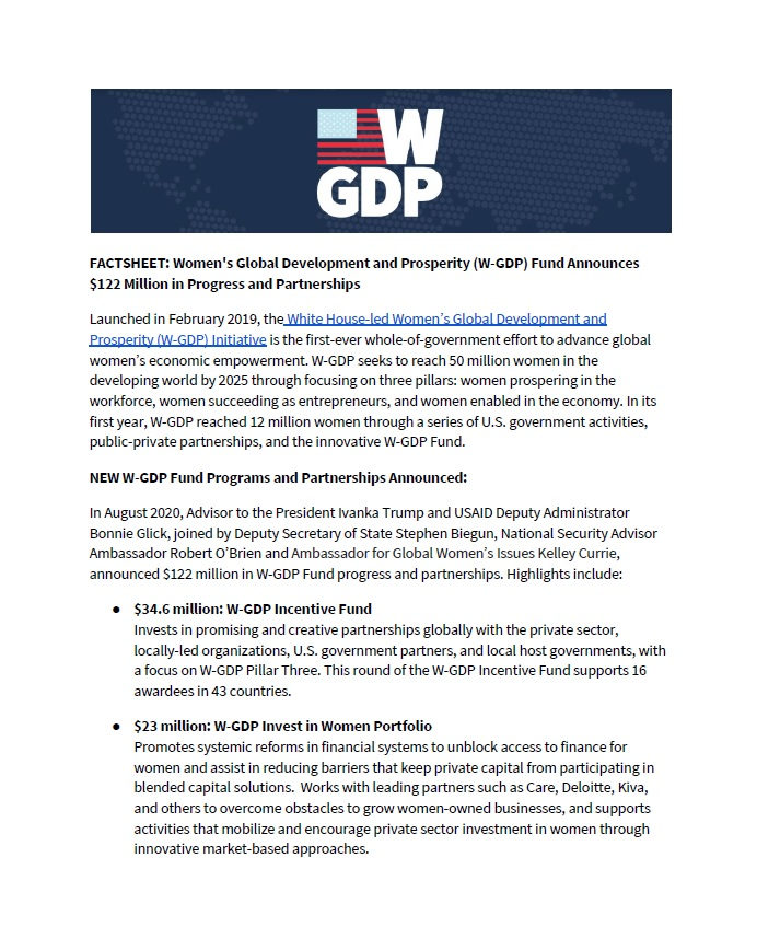 Women's Global Development and Prosperity (W-GDP) Fund Announces $122 Million in Progress and Partnerships