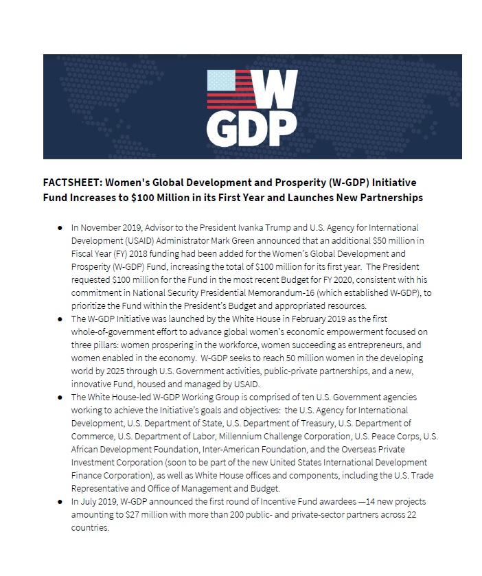 Fact Sheet: Women's Global Development and Prosperity (W-GDP) Initiative Fund Increases to $100 Million in its First Year and La