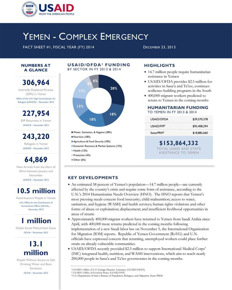 Yemen Complex Emergency Fact Sheet #1-12-23-2013
