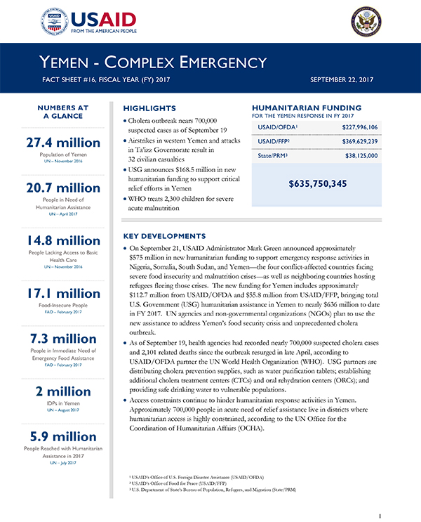 Yemen Complex Emergency Fact Sheet #16 - 09-22-2017